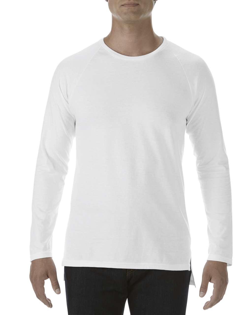 fe0336df82 Anvil AN5628 férfi hosszú ujjú hátul hosszított pamut póló - Fehér ...