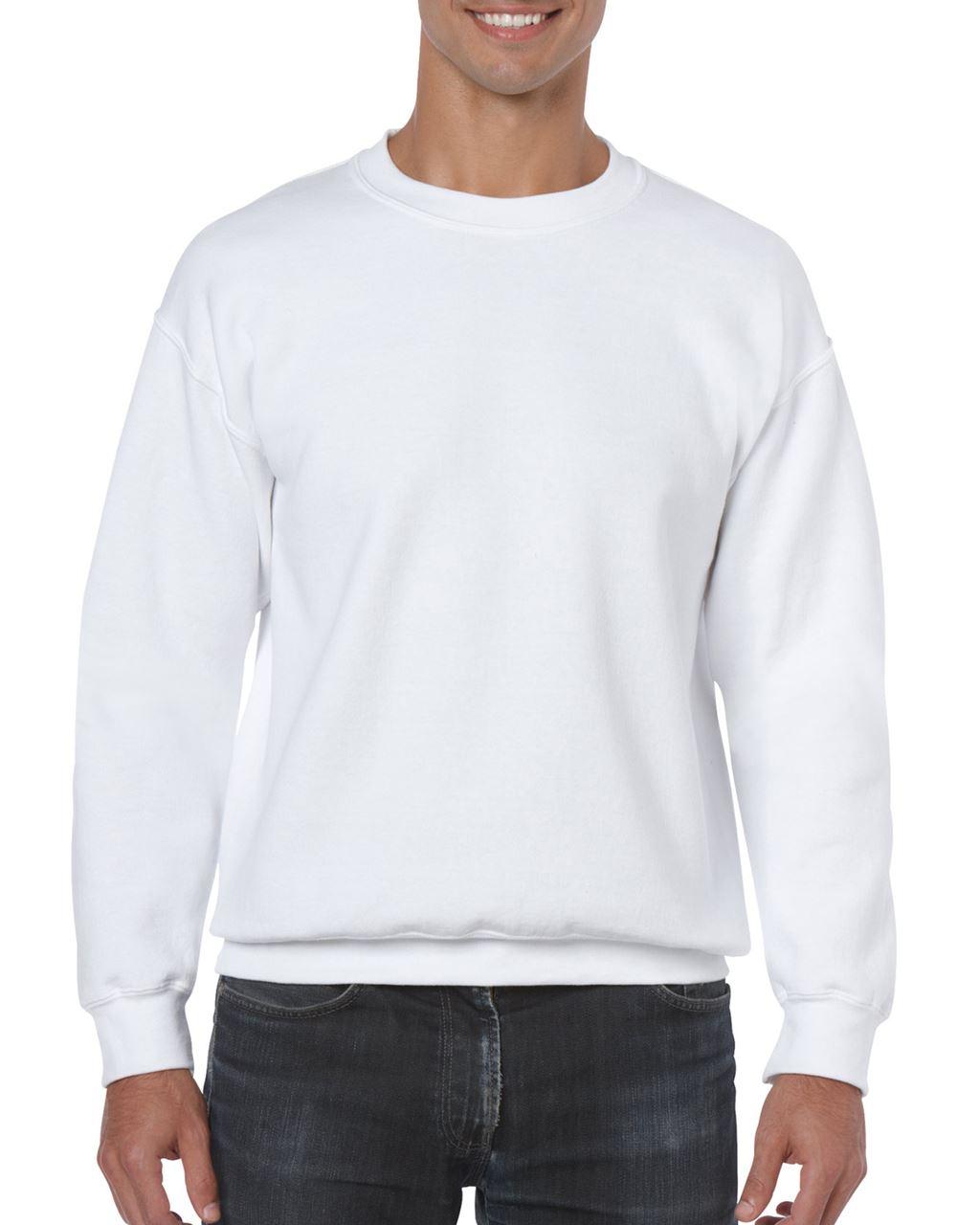 Gildan GI18000 férfi kereknyakú pamut pulóver - Fehér ... 63fae68873