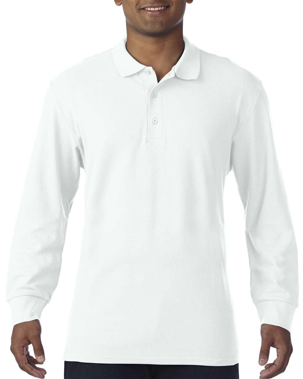 Gildan GI85900 férfi hosszú ujjú galléros pamut póló - Fehér ... 3466c7dc12